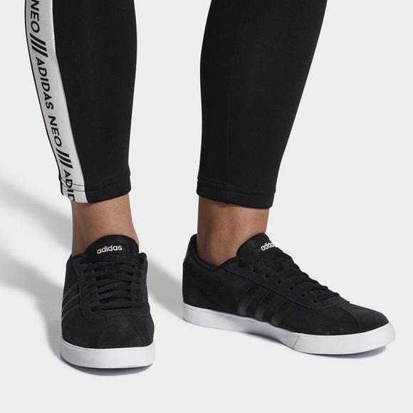 adidas courtset black suede